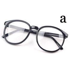 Cocotina baru unisex Vintage Retro fashion pria kacamata wanita kacamata bingkai bulat - terang Hitam