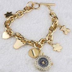 Cocotina Elegant Ladies Women Fashion Stainless Steel Chain Bracelet Rhinestones Round Dial Quartz Analog Wrist Watch (Intl)