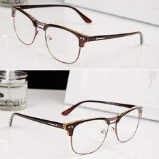 Cocotina Fashion Vintage Retro jelas lens kacamata setengah bingkai kacamata aneh pecandu Eyewear - Coklat