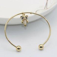 Cocotina Fashion Women Girls Owl Rhinestone Charm Gold Color Cuff Bracelet Bangle Jewellery