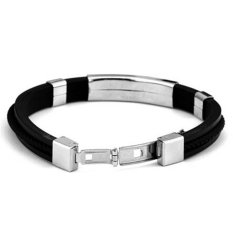Cocotina Simple Unisex Men's Braided Rope Silicone Stainless Steel Magnetic Clasp Bracelet Jewellery