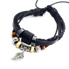 Cocotina Vintage Mens Unisex Women Adjustable Braided Faux Leather Wrap Charm Beads Bracelet Cuff – Black