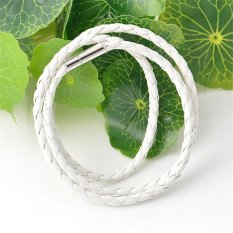 Cocotina Women Mens Braided Faux Leather Wristband Unisex Wrap Bracelet Jewellery - White