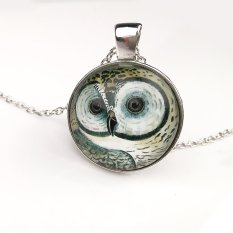 Cocotina Womens Girls Vintage Owl Cabochon Tibetan Silver Glass Chain Pendant Necklace Jewellery (Intl)