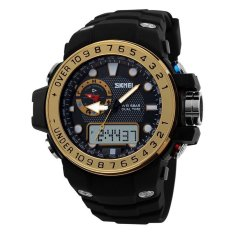 Cool Mens Outdoor Sport Multifunction Rubber Band Analog Digital LED Military Army Wrist Watch - Gold