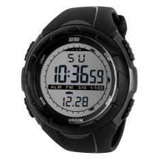 Cool Waterproof Glow Dark LED Digital Wrist Watch Band Men Sport Grey (Intl)