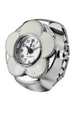 Creative Lovely Flower Fashion Lady Girl Steel Round Elastic Quartz Finger Ring Watch Women (Intl)