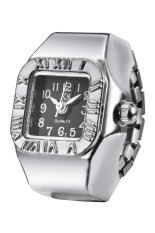 Creative Roman Numerals Fashion Lady Girl Steel Round Elastic Quartz Finger Ring Watch Women (Intl)