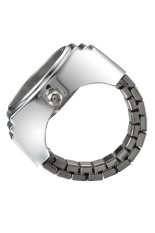 Creative Simple Fashion Lady Girl Steel Round Elastic Quartz Finger Ring Watch Women (Intl)