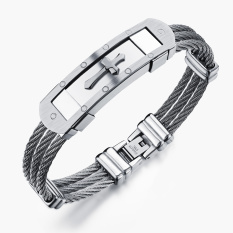 Cross Bracelet Bangle Two Tone Cable Rope Twist Chain Mens Stainless Steel (Silver)