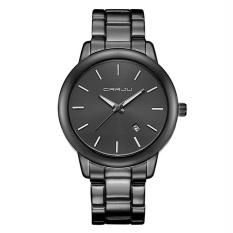CRRJU 2210 Fashion Men Quartz Watch Simple Stainless Strap Wrist Watch Black - intl