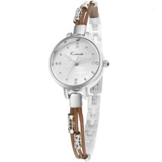 CUCOL New Luxury Women Fashion Bracelet Watch Analog Rhinestone Dial Female Wristwatch (Brown)