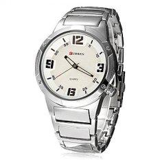 Curren 8111 Men's Round Dial Analog Watch with Tungsten Steel Strap (Silver / White) (Intl)