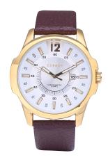 Curren 812 Luxury Brand Quartz Watches Leather Strap Sports Waterproof Quartz Watch Gold Shell White Surface (Brown)