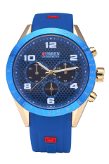 Curren 8167 Top Brand Men Waterproof Imported Quartz Movement Fashion Silicone Wristwatches Gold Shell Blue Surface (Intl)