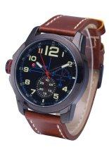 Curren 8182B Luxury Brand Quartz WristWatch Leather Strap Waterproof Quartz Watch Black Shell Blue Word (Intl)