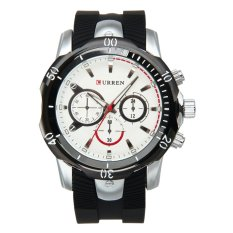 CURREN Men's Fashion Silicone Strap Three Decorative Sub-dials Analog Quartz Watch - White + Black