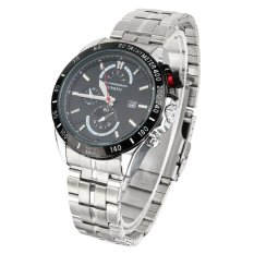 CURREN Men's Fashion Stainless Steel Three Decorative Sub-dials Analog Quartz Watch W / Calendar - Silver + Black (Intl)