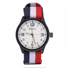GETEK Luxury Curren Men's Brands Of Men's Nylon Man Popular Sport Quartz Watches (Black + White)