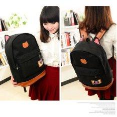 Cute Cat Ears Canvas Backpack School Bag Laptop Bag - Black - Intl