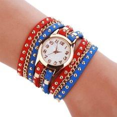 Cyber Women's Rivet PUNK Three Strap Chain Watch Wrap Circle Wristwatch