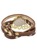 CZ Dial Wrap Leather Bracelet Watch (Brown)