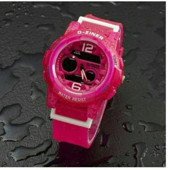 D-ziner D-01E14 Dual Time Jam Tangan Wanita Rubber Strap (PINK)