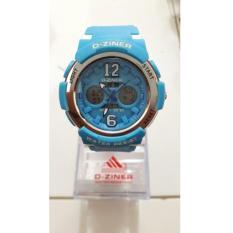 D-ziner DZ 23201 Blue Dual Time Jam Tangan Wanita Rubber Strap