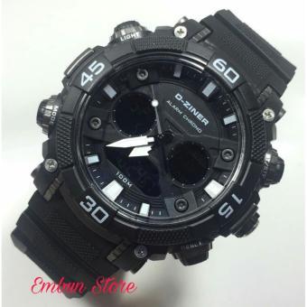 D-ziner Jam Tangan Sport Fashion Dual Time DZ 8073 ES - Black