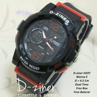 D-ziner RO-D 66TR54 Dual Time Jam Tangan Wanita Rubber Strap - hitam