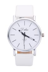 Dalas JD302 Fashion Vintage Women Simple Design Leather Strap Quartz Wristwatches (Black Strap White Surface) (Intl)