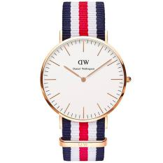 Daniel Wellington 0102DW Jam Tangan Pria Wanita Classic Canterbury 40MM Men Women Nylon Watch - Blue Red
