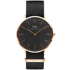 Daniel Wellington DW00100148 Jam Tangan Classic Black Cornwall Horloge 40MM Men Nylon Strap Watch - Black Gold