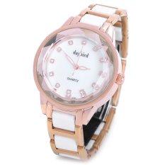 Daybird 3731 Women's Stainless Steel Ceramic Band Quartz Wrist Watch White / Golden (1 X LR626)