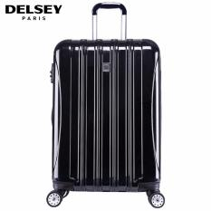 Delsey Helium Aero 69cm 4Wheels Glossy Medium Hard Case Trolley - Hitam