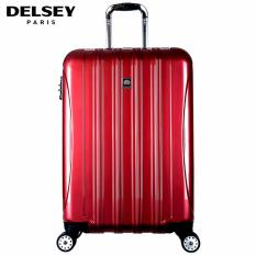 Delsey Helium Aero 81cm 4Wheels Glossy Large Hard Case Trolley - Merah