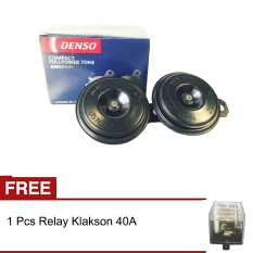 Denso Klakson Disc 12v Full Power Tone Tin Tin tin + Gratis Relay Klakson 40A