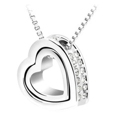 DeParis FOREVER LOVE Heart-in-Heart Necklace- Crystal Clear