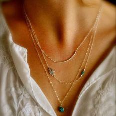Design Boho Hamsa Fatima Hand Evil Eye Bead Turquoise Pendant Necklace - Intl