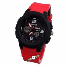 Digitec - DG2111L - Jam Tangan Wanita Dual Time - Strap Karet - Hitam Merah