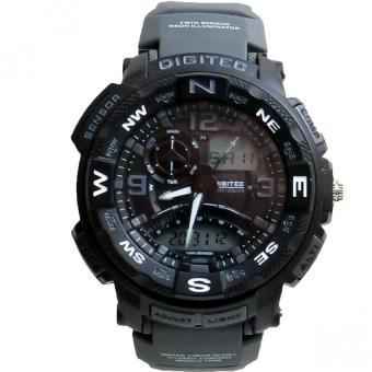 Digitec Men's - Jam Tangan Pria - DG 2057 - Hitam - Strap Karet - Dual Time