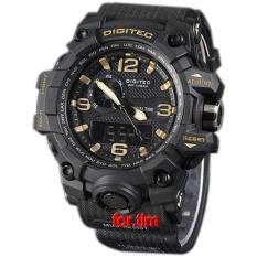 Digitec Original - DG2093M - Jam Tangan Pria Dual Time - Strap Karet - hitam gold