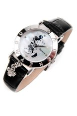Disney Women's Mickey Mouse Black Leather Band Watch OW-035DBW