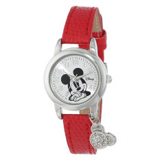 Disney Women's MK1042 Mickey Mouse Watch With Red Leather Band - Intl