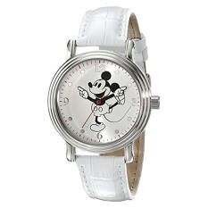 Disney Women's W001865 Mickey Mouse Watch With White Faux-Leather Band - Intl