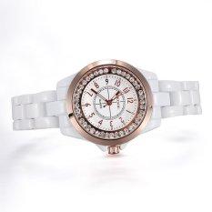 dmscs Brand Skone white Imitation ceramic women watches luminous rhinestones quartz mesh watches (Rose Gold)