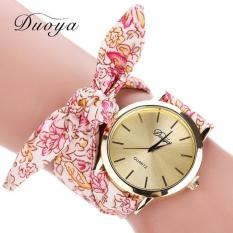 Duoya Fashion Women's Flower Star Bow Wristwatch Scarf Band Party Casual Watch Hot Pink Free Shipping