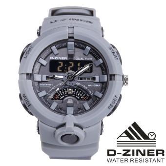 Dziner Dual Time Jam Tangan Sport Pria Rubber Strap - DZ-8174 DT