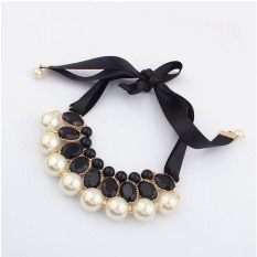 1pcs Women Luxury Sweet Pearl Ribbon Bib Choker Statement Collar Necklace Black