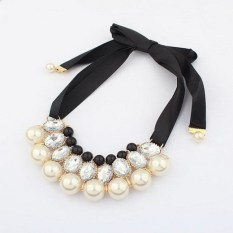 1pcs Women Luxury Sweet Pearl Ribbon Bib Choker Statement Collar Necklace White